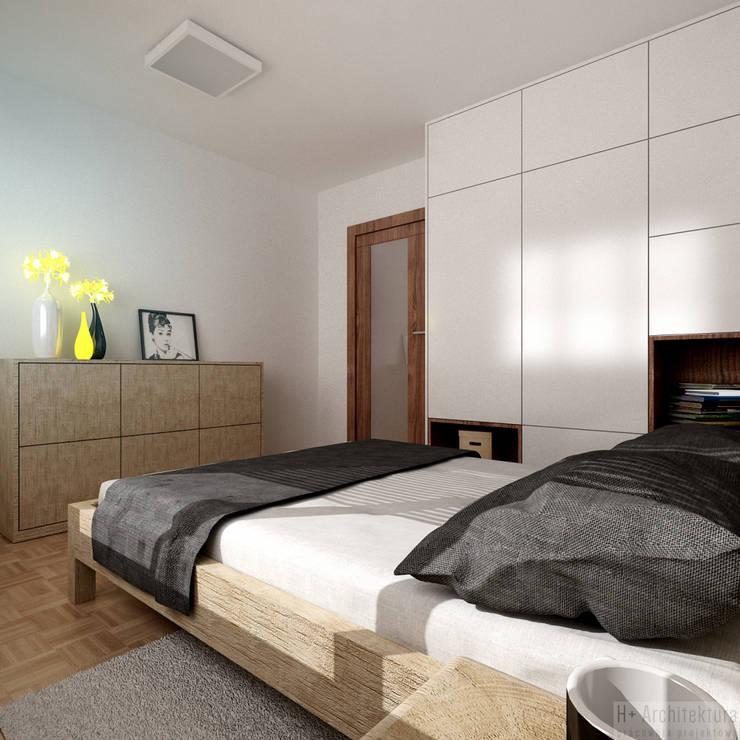 Poturzyńska   Lublin: styl , w kategorii Sypialnia zaprojektowany przez H+ Architektura,Nowoczesny
