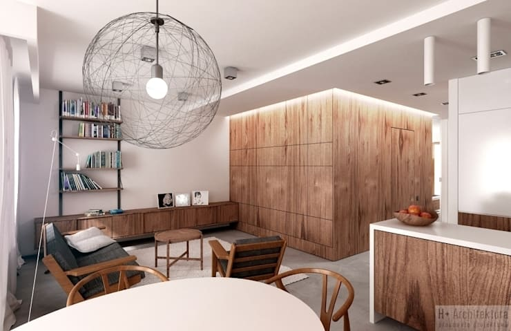 Potokowa   Wrocław: styl , w kategorii Salon zaprojektowany przez H+ Architektura,