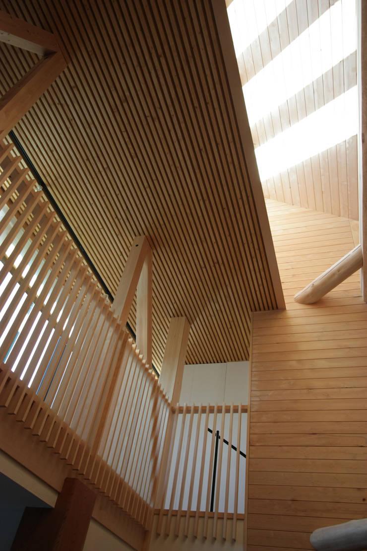 2階ギャラリーを望む: 一級建築士事務所 ヒモトタクアトリエが手掛けたリビングです。