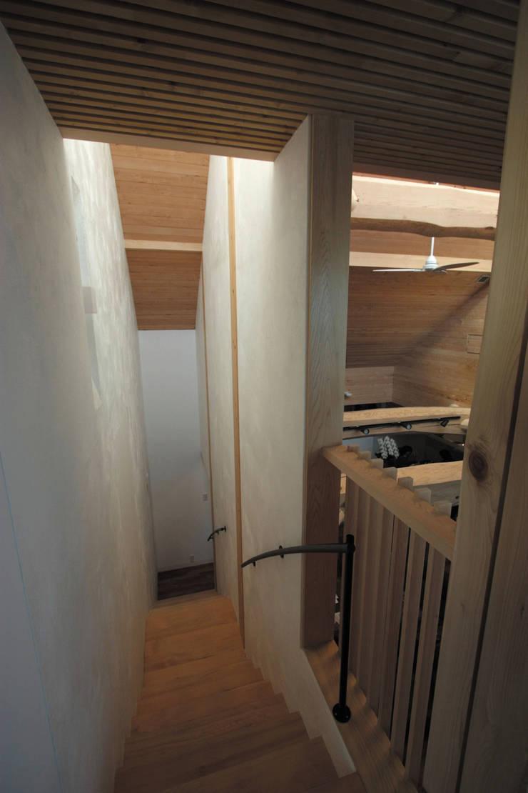 階段室: 一級建築士事務所 ヒモトタクアトリエが手掛けた廊下 & 玄関です。