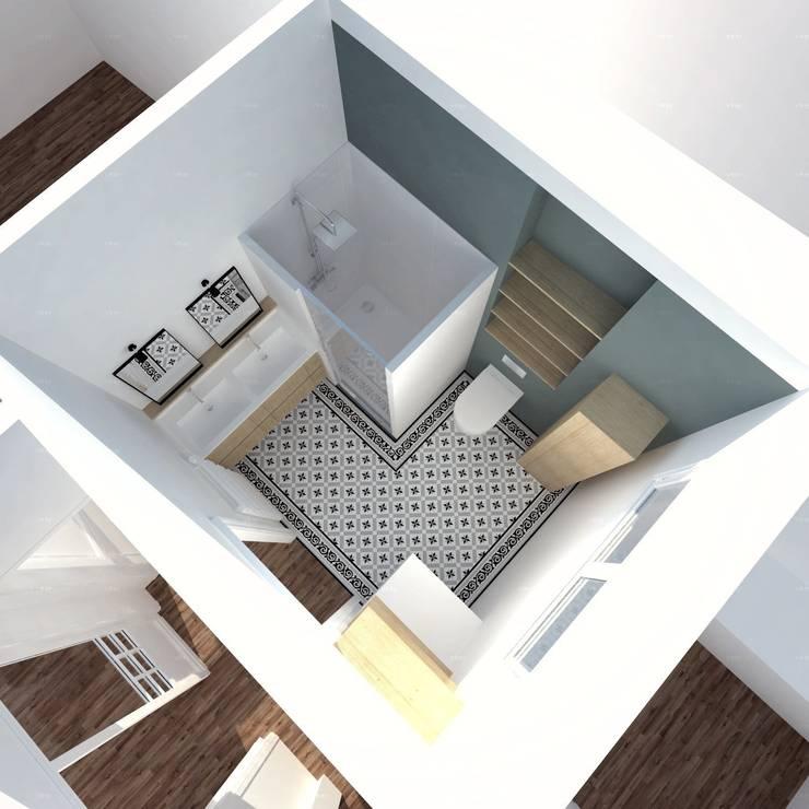 Image 3D du projet - Nouvelle salle de bain: Salle de bains de style  par Agence Ideco