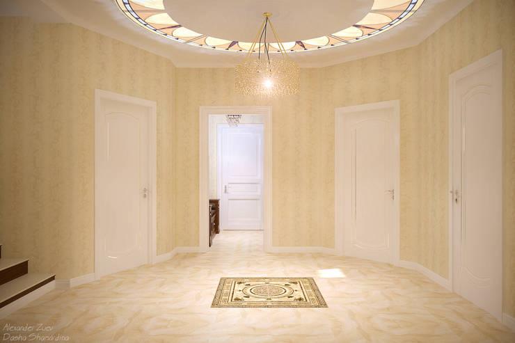 Дизайн холла в классическом стиле  в частном доме по ул. Российской: Коридор и прихожая в . Автор – Студия интерьерного дизайна happy.design