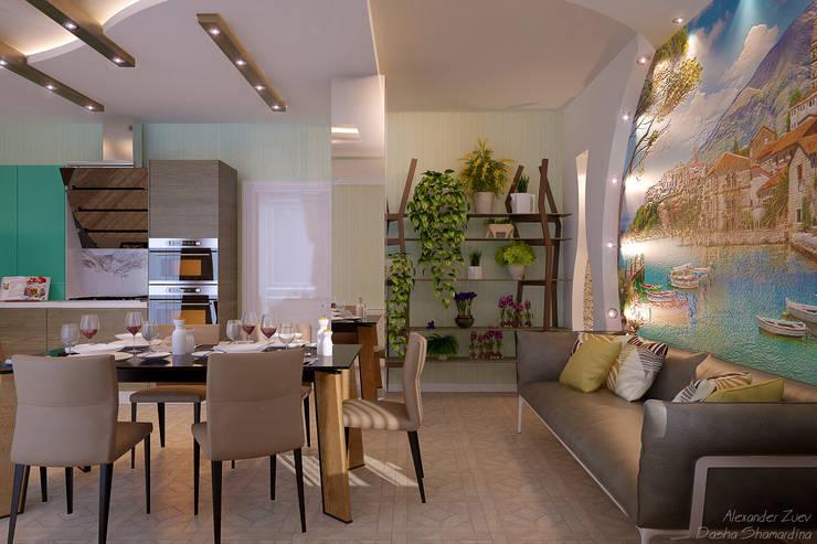 Дизайн кухни в средиземноморском стиле  в частном доме по ул. Российской: Кухни в . Автор – Студия интерьерного дизайна happy.design