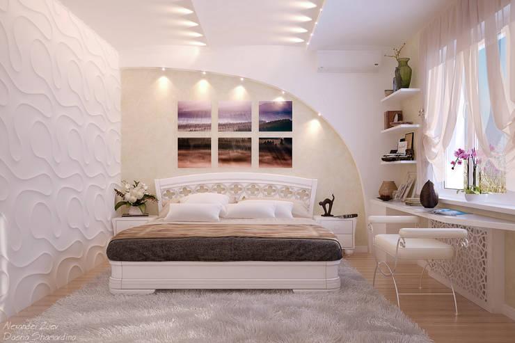 Дизайн спальни в современном стиле  в частном доме по ул. Российской: Спальни в . Автор – Студия интерьерного дизайна happy.design,