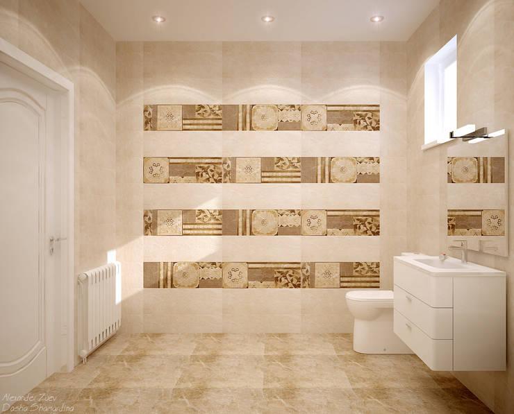 Дизайн санузла в современном стиле в частном доме по ул.Российской: Ванные комнаты в . Автор – Студия интерьерного дизайна happy.design