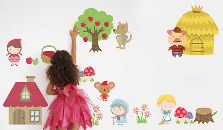 Fairytale Castle And Princess Fabric Wall Stickers:  Nursery/kid's room by SnuggleDust Studios