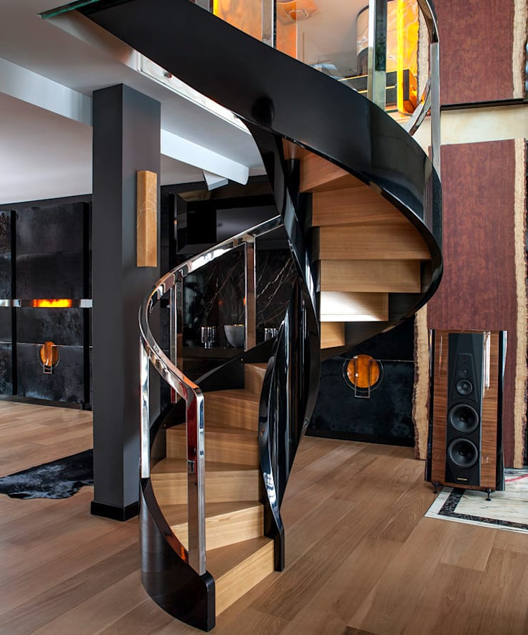 ST780 Schody nowoczesne gięte / ST780 Modern Curved Stairs: styl , w kategorii Jadalnia zaprojektowany przez Trąbczyński