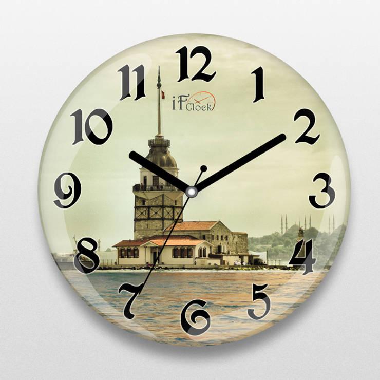 iF Dizayn Tasarım Ürünleri – iF Dizayn Kız Kulesi Baskılı Duvar Saati:  tarz Ev İçi