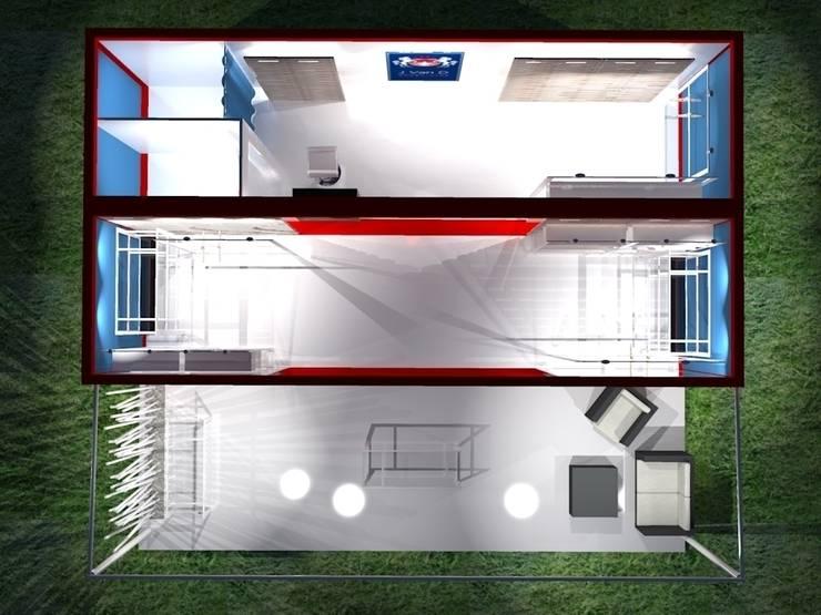 Pianta - Vista dall'alto: Negozi & Locali commerciali in stile  di Studio Arch. Matteo Calvi