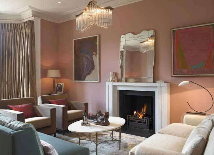 Drawing Room, Manor Farm, Oxfordhire:  Living room by Concept Interior Design & Decoration Ltd