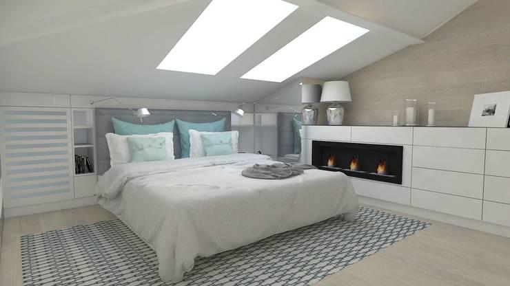 Sypialnia na poddaszu: styl , w kategorii Sypialnia zaprojektowany przez WNĘTRZNOŚCI Projektowanie wnętrz i mebli,Nowoczesny