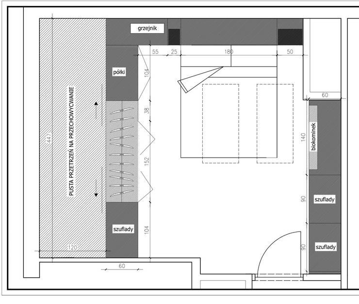 Sypialnia na poddaszu: styl , w kategorii  zaprojektowany przez WNĘTRZNOŚCI Projektowanie wnętrz i mebli,Nowoczesny