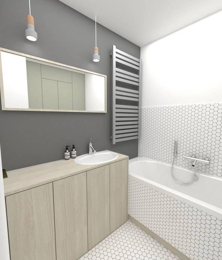 Łazienka 4m2: styl , w kategorii Łazienka zaprojektowany przez WNĘTRZNOŚCI Projektowanie wnętrz i mebli,