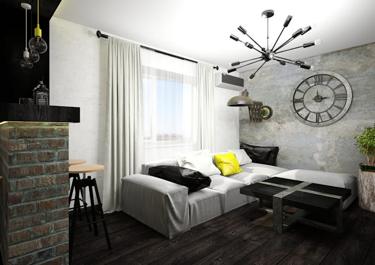 Salas de estilo industrial por AbcDesign