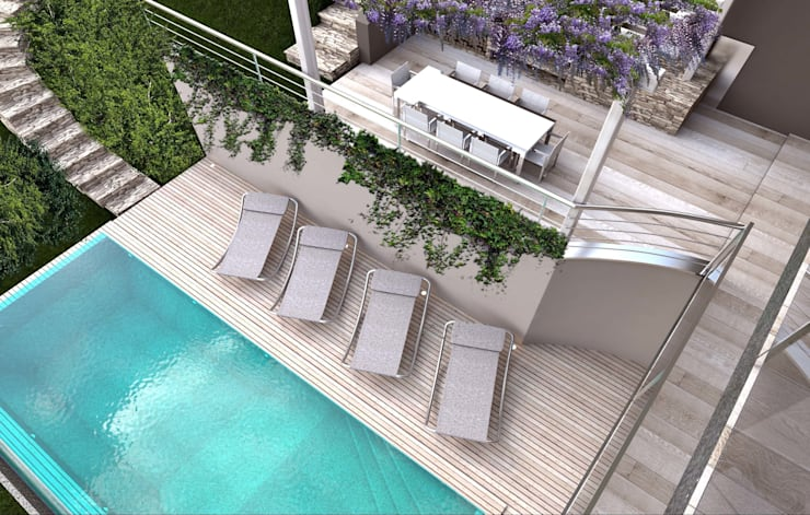 render zona piscina: Piscina in stile  di ARTREADY