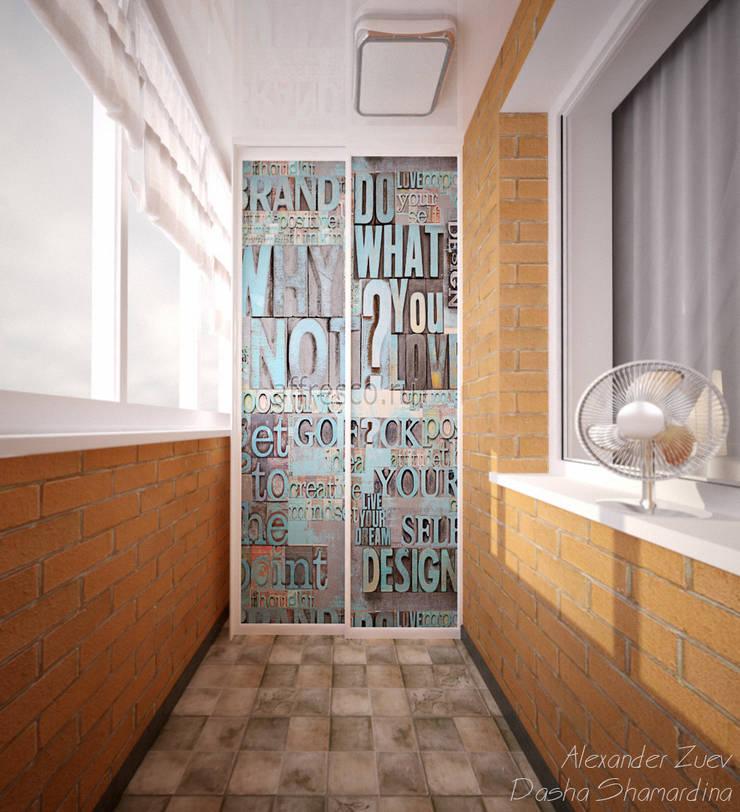 """Дизайн балкона в стиле лофт в ЖК """"Янтарный"""": Tерраса в . Автор – Студия интерьерного дизайна happy.design"""