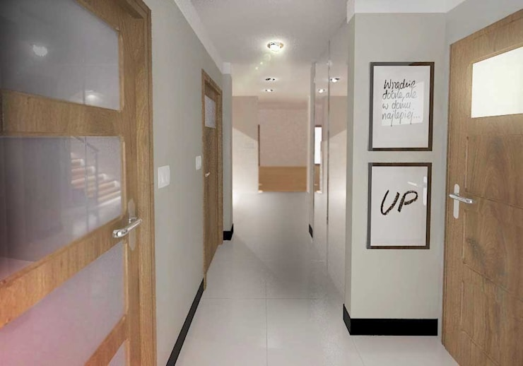 Nowoczesny dom jednorodzinny: styl , w kategorii Korytarz, przedpokój zaprojektowany przez D2 Studio,Nowoczesny