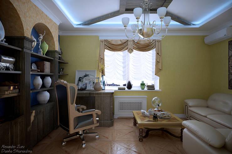 """Дизайн кабинета в классическом английском стиле  в коттеджном поселке """"Виктория"""" : Рабочие кабинеты в . Автор – Студия интерьерного дизайна happy.design"""