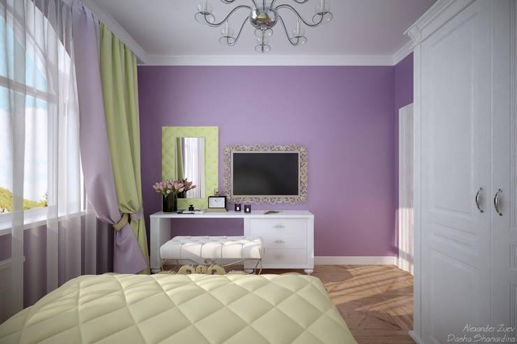 """Дизайн спальни в классическом стиле  в коттеджном поселке """"Виктория"""" : Спальни в . Автор – Студия интерьерного дизайна happy.design"""