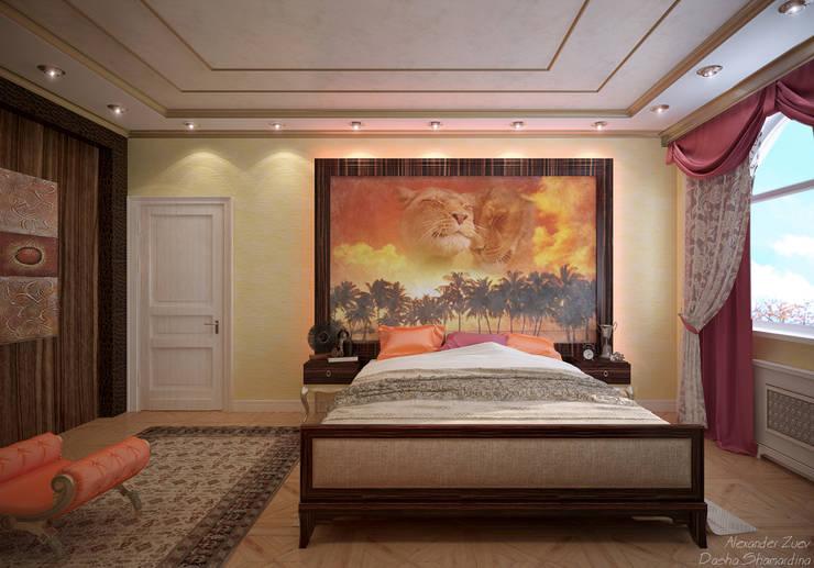 """Дизайн спальни в стиле фьюжн в коттеджном поселке """"Виктория"""" : Спальни в . Автор – Студия интерьерного дизайна happy.design, Колониальный"""