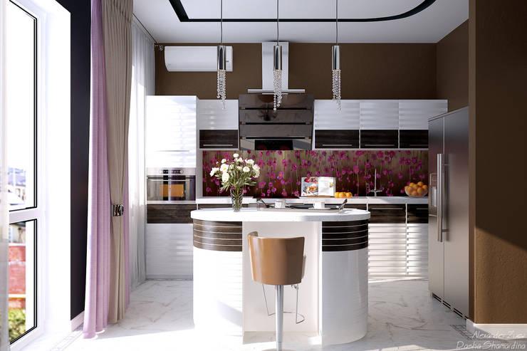 """Дизайн кухни-гостиной в современном стиле  в коттеджном поселке """"Виктория"""": Кухни в . Автор – Студия интерьерного дизайна happy.design"""