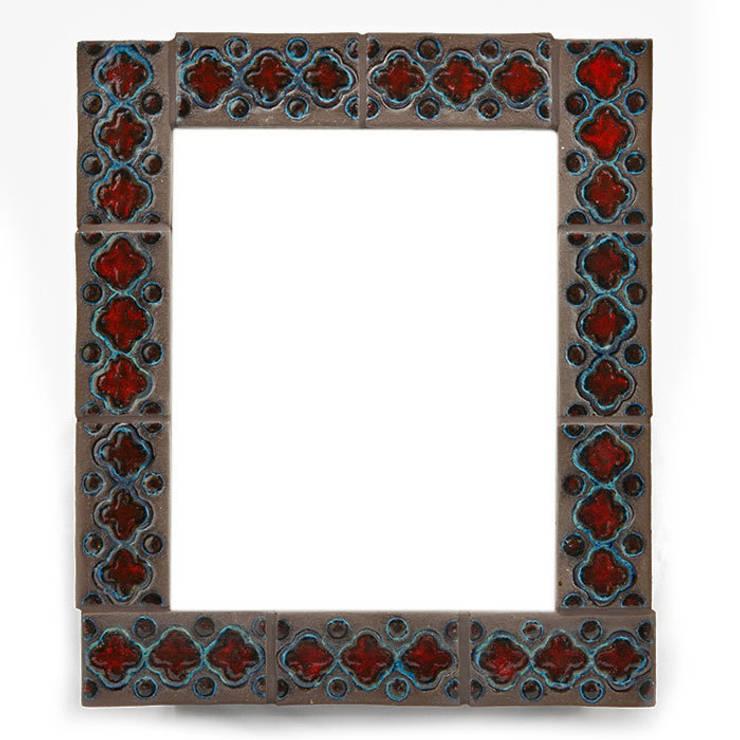 Kafelki na ramę lustra - czerwień z odrobiną turkusu i matowy brąz: styl , w kategorii Ściany i podłogi zaprojektowany przez Dekory Nati