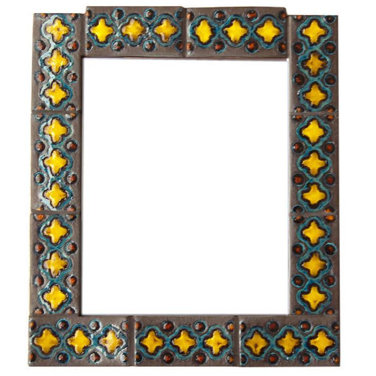 Kafelki na ramę lustra - żółcień, matowy brąz i turkus: styl , w kategorii Ściany i podłogi zaprojektowany przez Dekory Nati