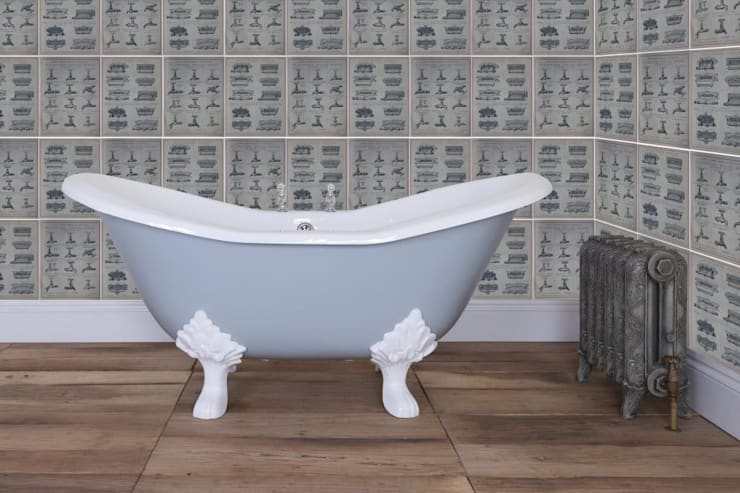 Banburgh Small Double High Slipper Cast Iron Roll Top Bath:  Bathroom by UK Architectural Antiques