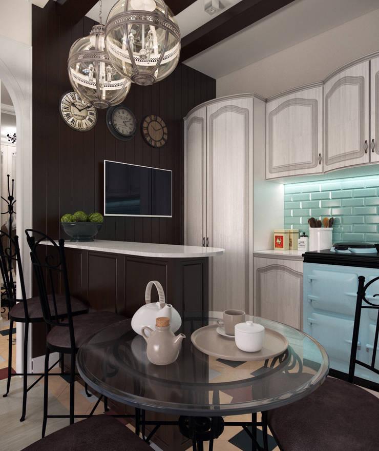 """<q class=""""-first""""> Французский штрих </q>   Квартира 68 кв.м, МО: Кухни в . Автор – Krupp Interiors"""