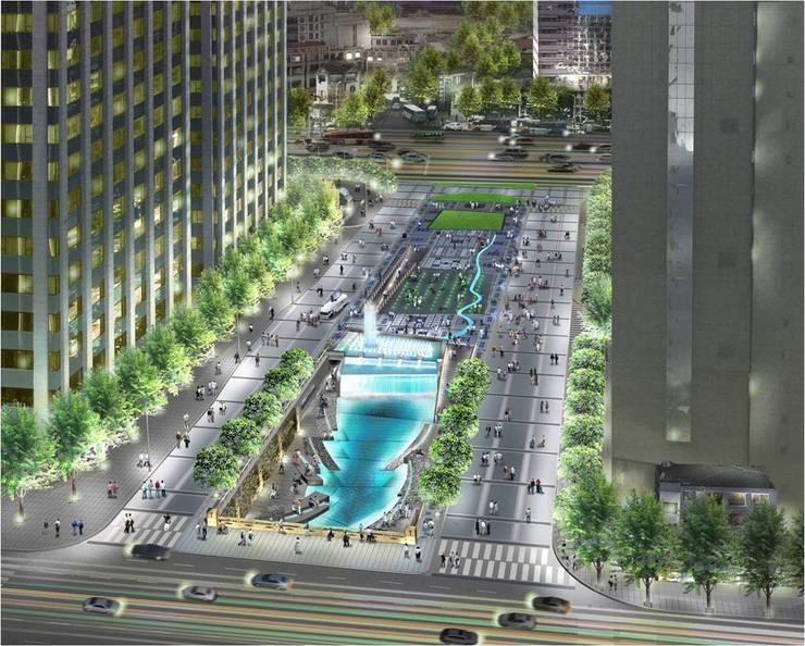CheongGye Plaza- Night variation : Seo Ahn R&D Design Group의  정원,