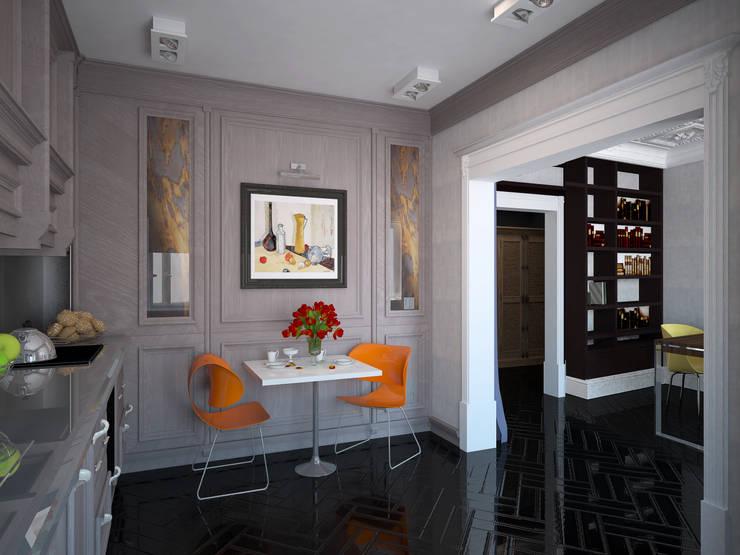 """<q class=""""-first""""> Палитра Мондриана </q>   Квартира 64,2 кв.м, Москва: Кухни в . Автор – Krupp Interiors,"""