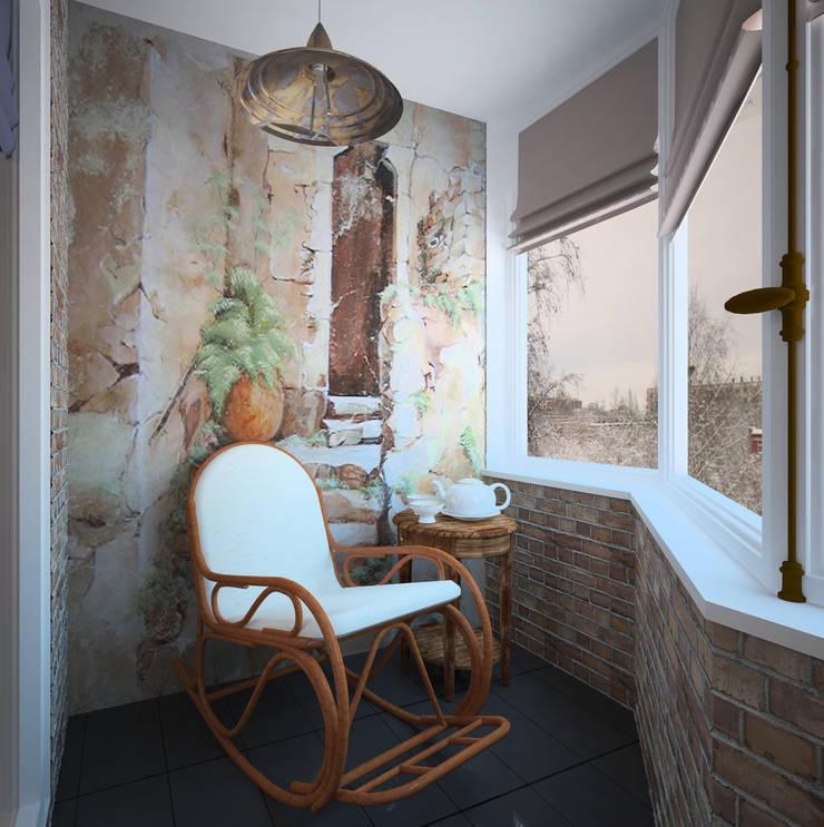 """<q class=""""-first""""> Палитра Мондриана </q>   Квартира 64,2 кв.м, Москва: Tерраса в . Автор – Krupp Interiors,"""