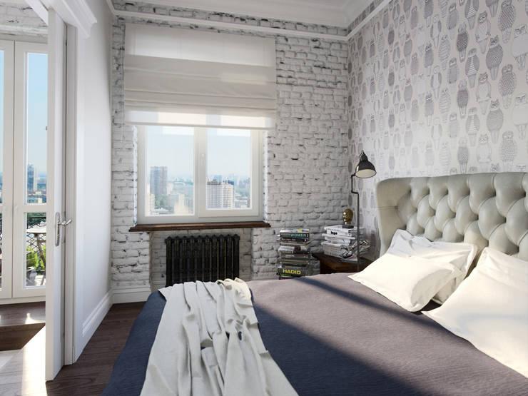 Квартира-студия в стиле лофт в центре Москвы: Спальни в . Автор – Aiya Design
