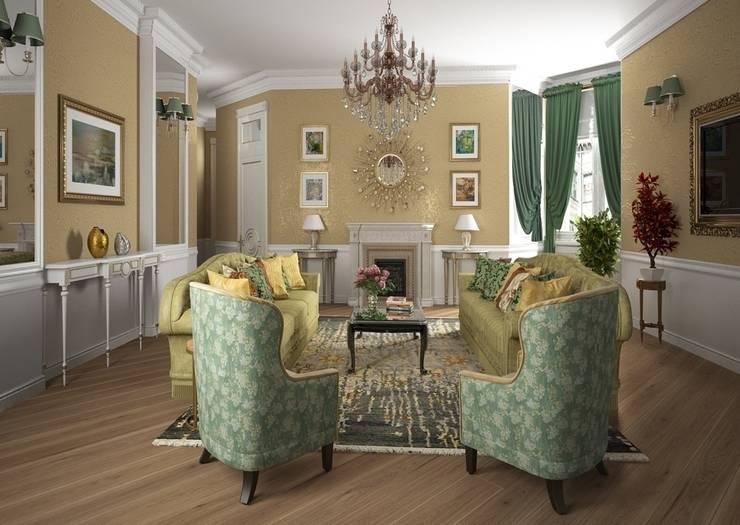 Дизайн проект квартиры в стиле эклектика: Гостиная в . Автор – Альбина Романова
