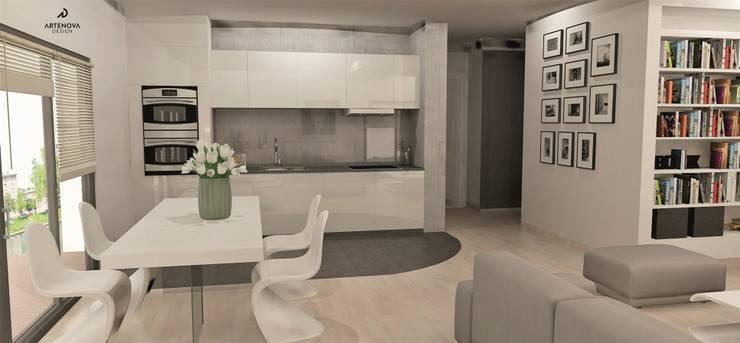 Minimalistyczny apartament : styl , w kategorii Jadalnia zaprojektowany przez Artenova Design,Nowoczesny