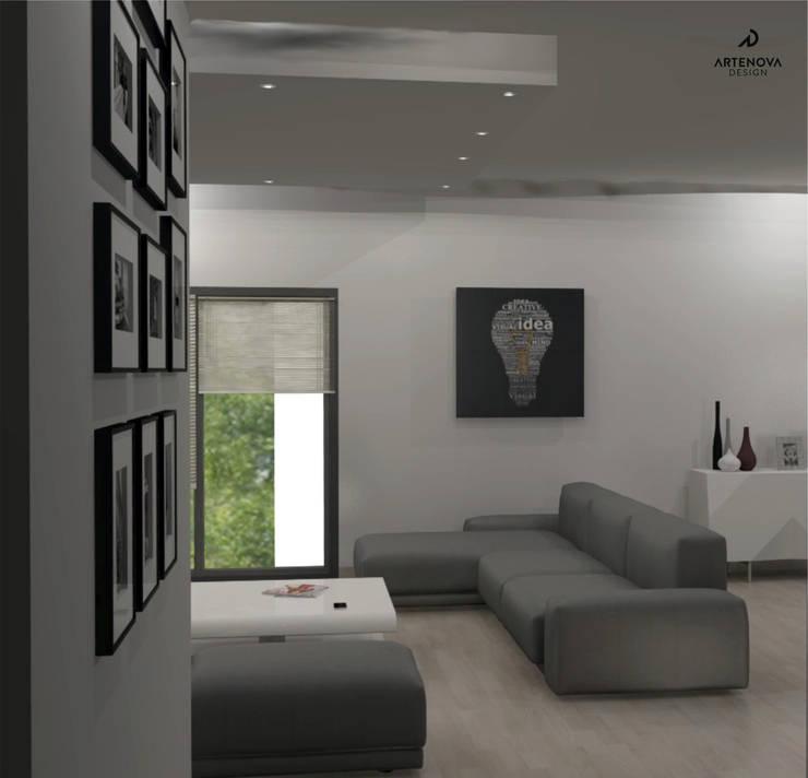 Minimalistyczny apartament : styl , w kategorii Salon zaprojektowany przez Artenova Design,Nowoczesny