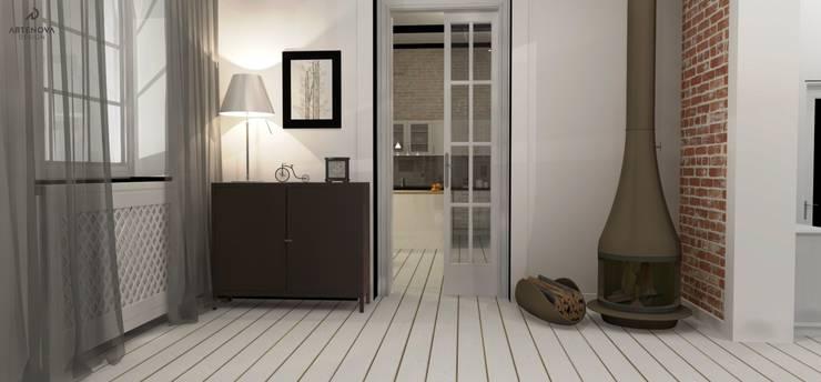 Rstykalne mieszkanie w kamienicy Warszawa: styl , w kategorii Salon zaprojektowany przez Artenova Design