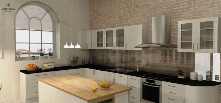 Rstykalne mieszkanie w kamienicy Warszawa: styl , w kategorii Kuchnia zaprojektowany przez Artenova Design