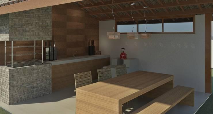 Área de Churrasco: Cozinhas  por Patrícia Alvarenga,