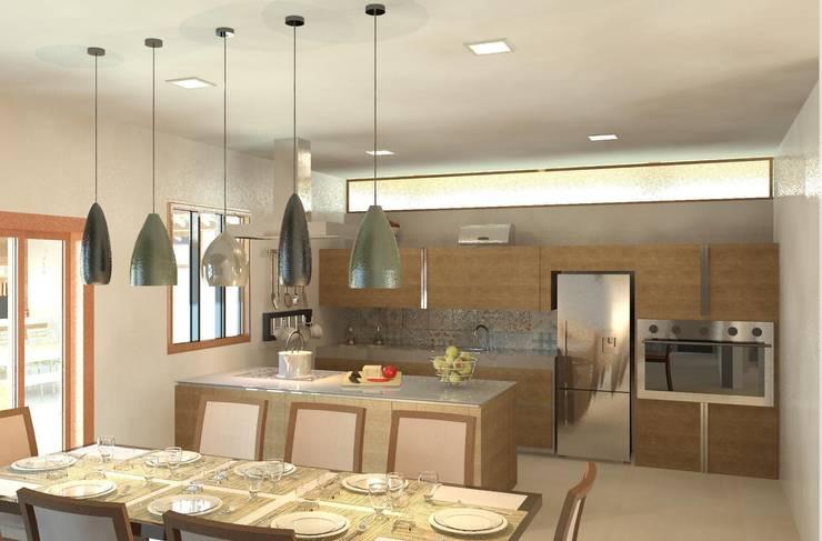 Cozinha e copa integradas: Cozinhas  por Patrícia Alvarenga,