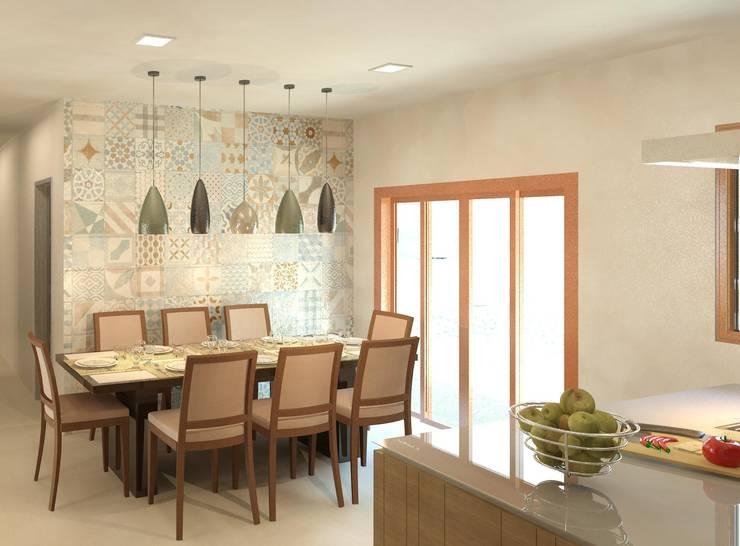 Cozinha e copa integradas: Salas de jantar  por Patrícia Alvarenga