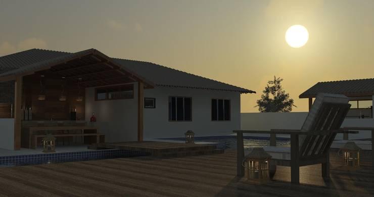 Area piscina: Casas  por Patrícia Alvarenga,