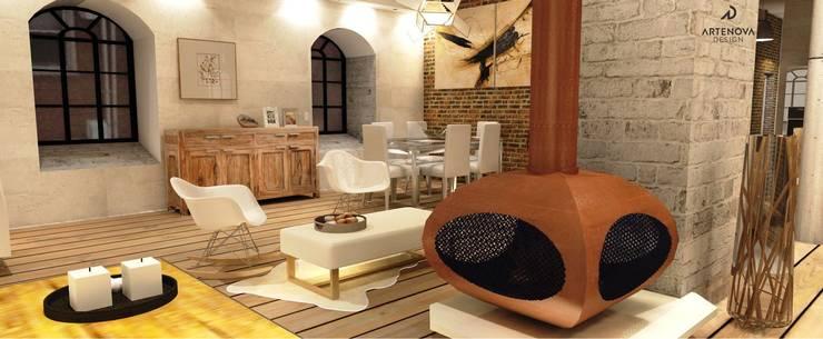 Loft w Łodzi : styl , w kategorii Salon zaprojektowany przez Artenova Design