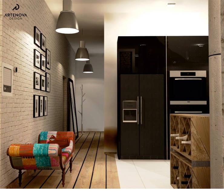 Loft w Łodzi : styl , w kategorii Korytarz, przedpokój zaprojektowany przez Artenova Design,Industrialny