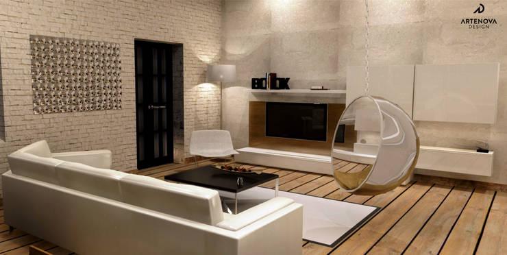 Loft w Łodzi : styl , w kategorii Salon zaprojektowany przez Artenova Design,Industrialny
