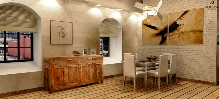 Loft w Łodzi : styl , w kategorii Jadalnia zaprojektowany przez Artenova Design