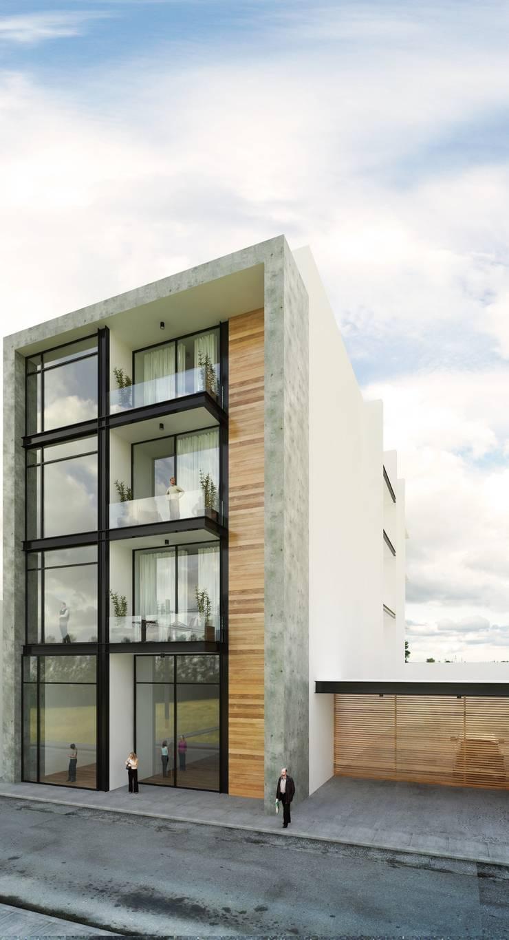 Fachada Principal: Casas de estilo  por Taller Habitat Arquitectos