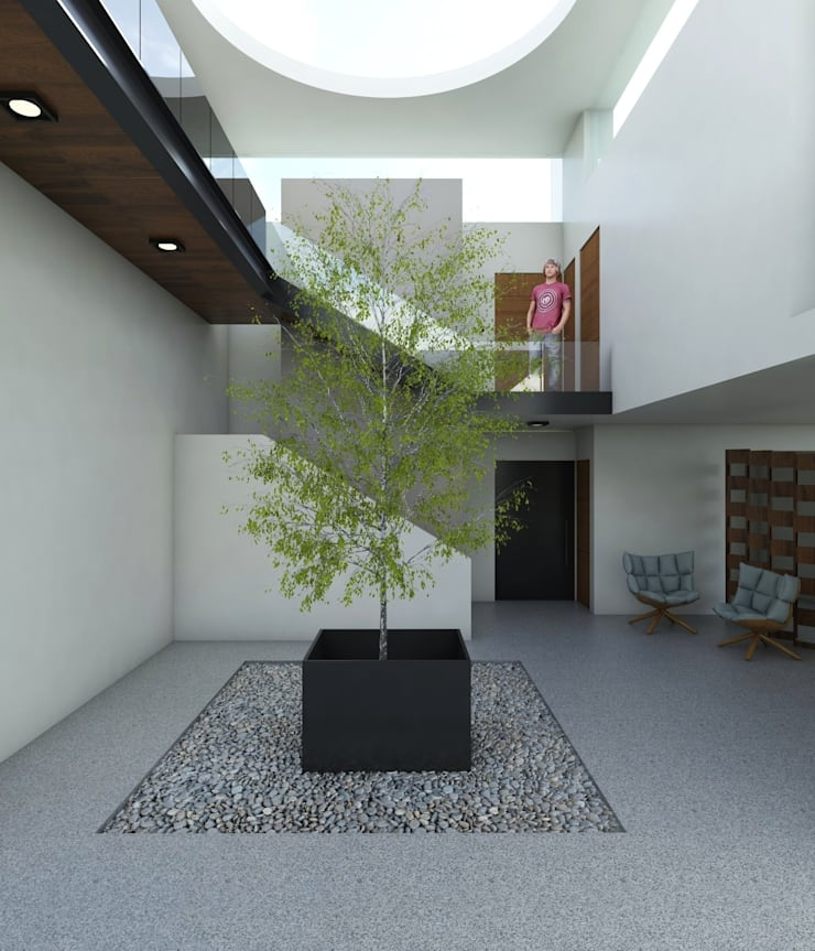 Casa FERRO: Pasillos y recibidores de estilo  por Taller Habitat Arquitectos
