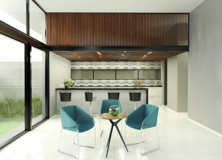 Casa FERRO: Salas de estilo  por Taller Habitat Arquitectos