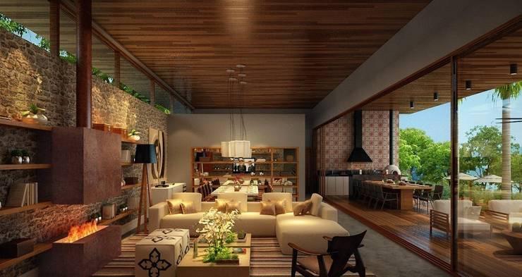 Residência Itatiba : Salas de estar  por SESSO & DALANEZI